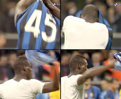 Những hành vi phản cảm của Balotelli cuối trận thắng Barca khiến Inter không còn đủ kiên nhẫn chịu đựng tiền đạo này thêm nữa. Ảnh: La Presse.