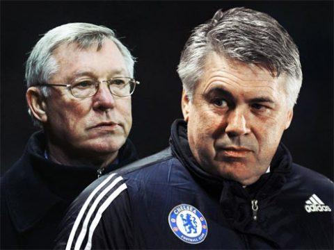 MU của Ferguson và Chelsea của Ancelotti vẫn là hai thế lực lớn nhất trong bóng đá Anh hiện tại. Ảnh: Sky.