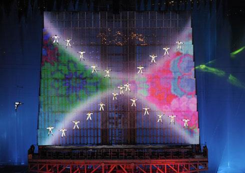 Tạo hình trên khung là một điểm nhấn độc đáo làm nên sức hấp dẫn cho lễ khai mạc Á vận hội Quảng Châu 2010.
