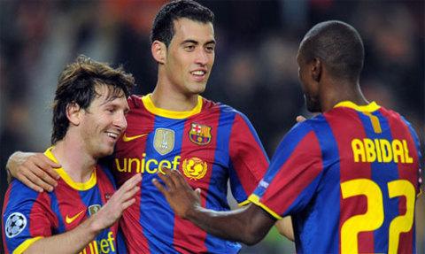 Hy vọng của Barca sẽ dồn vào Messi ở tuyến đầu cùng nỗ lực của cặp Busquets - Abidal.
