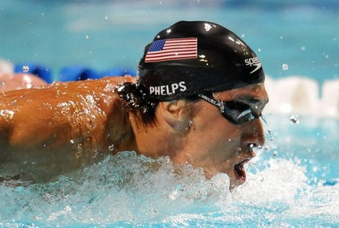 Phelps vẫn vật lộn trên hành trình tìm lại phong độ đỉnh cao từng giúp anh lập kỷ lục đoạt 9 HC vàng ở Thế vận hội Bắc Kinh 2008. Ảnh: AFP.