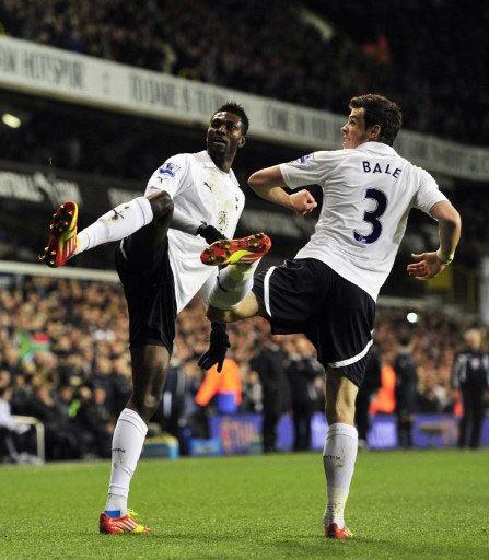 CAN 2012 có thể là một thuận lợi để Tottenham của Adebayor (trái) bứt phá trên đường đua vô địch. Ảnh: AFP.
