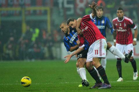 Milan của Ibrahimovic chơi trận derby kém nhất của họ hơn một năm qua và thất bại. Ảnh: AFP.