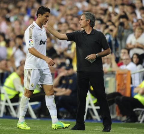 HLV Mourinho và học trò cưng Ronaldo.