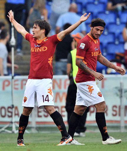 Các tân binh như Krkic và Osvaldo dần hòa nhập và bắt đầu giúp Roma chơi tốt. Ảnh: AFP.
