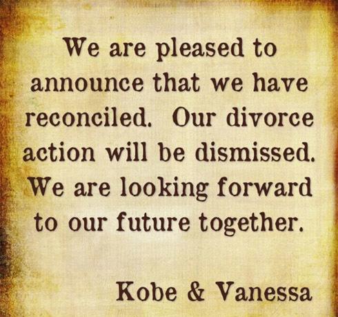 'Chúng tôi vui mừng thông báo rằng chung tôi đã tái hợp. Thủ tục xin ly hôn của chúng tôi đã bị hủy bỏ. Chúng tôi đang hướng tới một tương lai tốt đẹp bên nhau